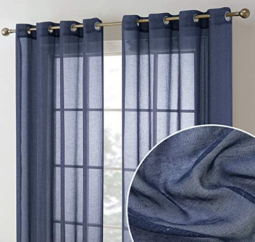 HLC.ME Sierra Burlap Flax Linen Semi Sheer Privacy Sun Light Filtering Transparent Window Grommet Short Thick Curtains Drapery Panels for Bedroom & Office, 2 Panels (54 W x 72 L, Navy Blue)