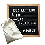 Letter Board - 10 x 10 inch Oak Wood Frame with Stand - Changeable Felt Letter Board Includes 290 White Letters, FREE Bag for Letters, Easy Mounting Hook, PLUS Stand