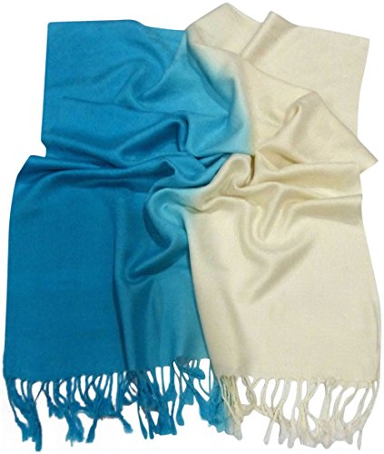 Turquoise Two Tone Design Shawl Scarf Wrap Stole Pashmina CJ Apparel NEW