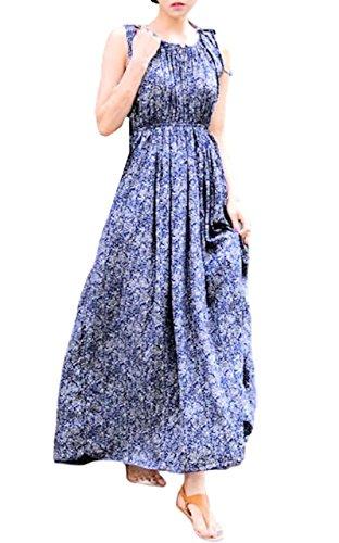 強打和堤防(ケイグラッソ)K-grasso+ 花柄マキシ丈ノースリーブワンピース ブルー