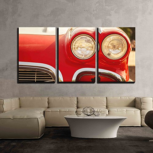 wall26 - 3 Piece Canvas Wall Art - Close-Up Photo of Retro Car Headlights - Modern Home Decor Stretched and Framed Ready to Hang - 16