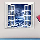 DIY Wall Art Decal,HP95(TM) Fahsion Removable 3D [Window Sea View] Wall Stickers Art Decal Mural (58x65cm #)