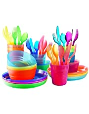Plastic Dinnerware set for 8   Kids dishes set include kids cups, kids plates, kids bowls, Flatware set   Rainbow colours for kids party indoor and camping   Reusable and Microwave safe