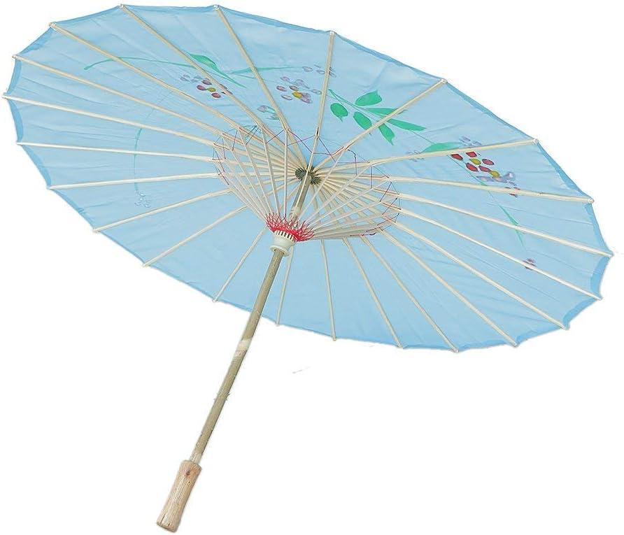 BANGBANGSHOP Sombrilla de Tela de bambú con diseño de Flores, 21 Pulgadas de diámetro, Estilo Oriental Chino, para Mujer, Hecha a Mano, para Baile, Boda, Color al Azar