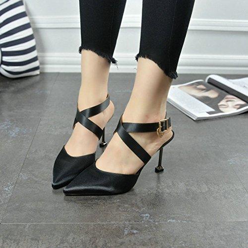 Donna 8cm scarpe nuovo Sandali Ajunr satin con attraversare sexy un Alla 36 cinghie gatto seta pantofole Da belle 5 le con Moda qRqdn4TEx