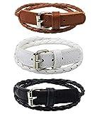 3PCS Adjustable Fashion Leather Double Wrap Belt Bracelets, Black White Brown Included