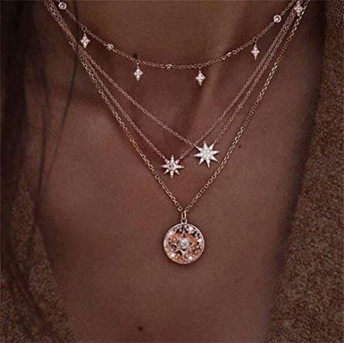 LOSOUL Cross Pendant Layered Necklace Pendant Chains Fashion Jewelry Accessories for Women and Girls