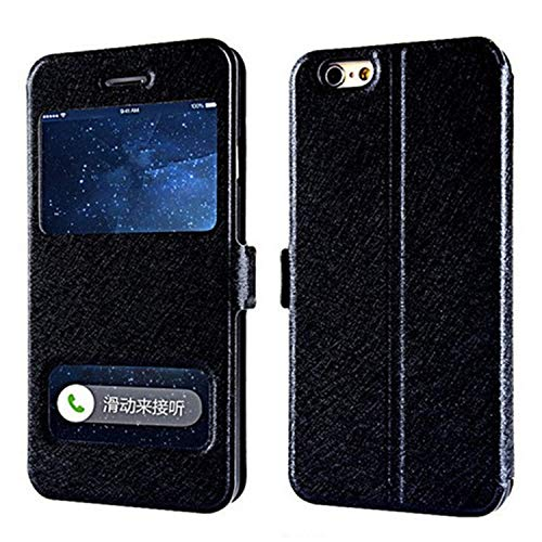 Luxury Front Window View Leather Flip Cover Case for iPhone 7 8 6s Plus X Cover for iPhone XR XS Max 6 Plus 5s SE 4s Phone Case,Black,for iPhone 5 5S SE
