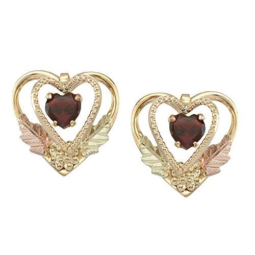 5 X 5 MM Heart Shaped Black Hills Gold Garnet Earrings in 10k Gold