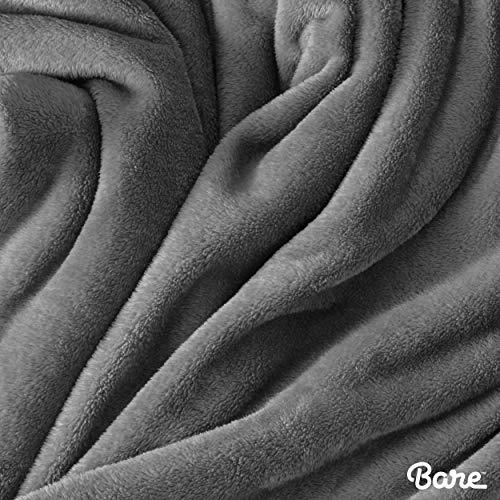 Bare Home Kids Microplush Fleece Blanket - Twin/Twin Extra Long - Ultra-Soft Velvet - Luxurious Fuzzy Fleece Fur - Cozy Lightweight - Easy Care - All Season Premium Bed Blanket (Twin/Twin XL, Grey)