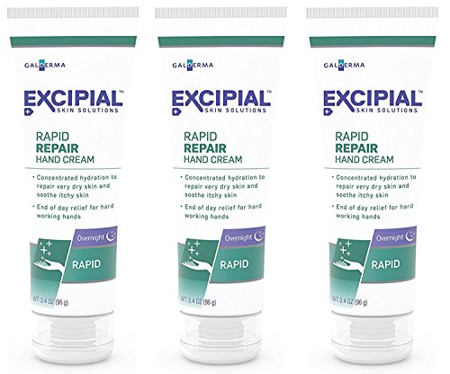 Excipial Rapid Repair Overnight Hand Cream, 3.4 Ounce, Pack of 3