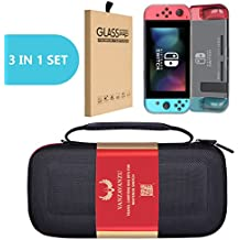 Travel Carrying Bag/TPU Grey Case/Tempered Glass - (3 in 1) Set - For Nintendo Switch Eva Hard Bag Handbag Travelling Bag anti-drop full protection - Screen guard - Handheld Case light Weight