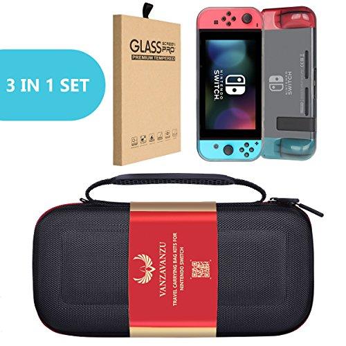 VANZAVANZU Carrying Case Bag/Gray TPU Case/Tempered Glass - (3 in 1) Set - for Nintendo Switch EVA Hard Carry Bag Handbag Travel Bag Anti-Drop Full Protection - Screen Guard