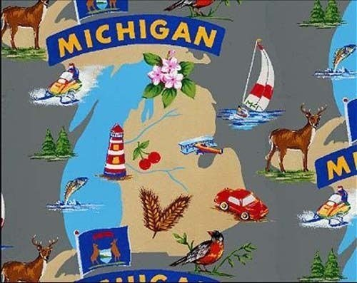 The Wolverine State of Michigan Great Lakes Map Fleece Fabric Print by the Yard ()