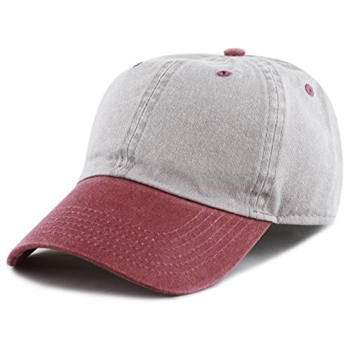 The Hat Depot Cotton Pigment Dyed Two Tone Low Profile Six Panel Plain Cap (Grey (Grey And Burgundy)