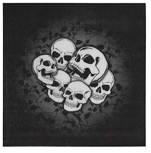 Cocktail Napkins - 150-Pack Luncheon Napkins, Disposable Paper Napkins Halloween Party Supplies, 2-Ply, Skull Design, Unfolded 13 x 13 Inches, Folded 6.5 x 6.5 Inches]()