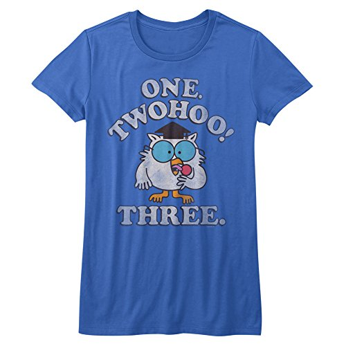 Tootsie Roll Chocolate Flavored Candy Caramel One Two Owl Juniors T-Shirt Tee ()