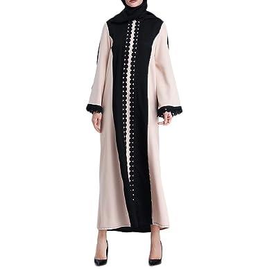 f88ddcd76aa9a Amazon.com  Muslim Women Coat Islamic Clothing Lace Splicing Long Coat  Middle East Long Robe  Clothing