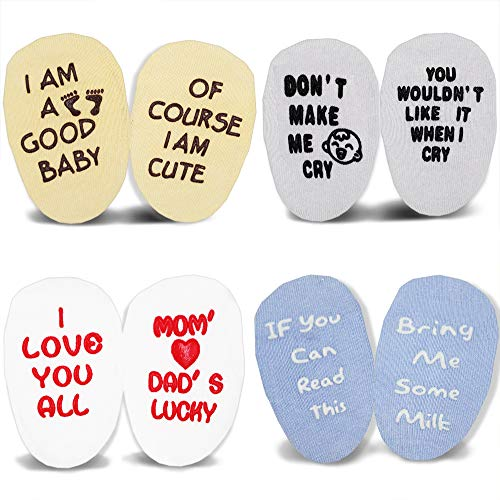 Baby Boy Socks Gift Set-4 Pairs Baby Boy Gifts Newborn Present Baby Shower Gifts Anti-skid Cute Quotes