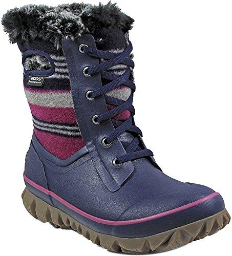Bogs Womens Arcata Sripe Snow Boot Dark Blue Multi Size 7