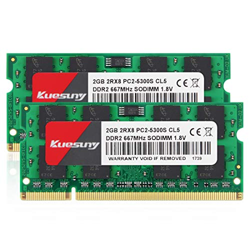 - 4GB Kit (2GBX2) DDR2 667 sodimm RAM, Kuesuny PC2-5300 / PC2-5300S CL5 200-Pin Non-ECC Unbuffered Notebook Laptop Memory Modules