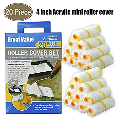 20 Piece For All Paints,Acrylic Mini Paint Roller,paint roller refills,paint rollers,paint roller,paint roller cover,roller covers,tools, 4-Inch with 3/8-Inch Nap,tool kit,tool set,home tool kit
