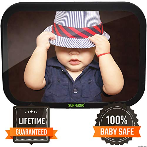 (Sunferno Baby Car Mirror - Have Peace of Mind While Driving by Effortlessly Monitoring Your Baby - Wide View Extremely Durable and Adjustable Infant Backseat Mirror for Universal Fit)
