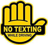 No Texting While Driving Multiple Color Choice Sticker Decal Label (yellow/black)