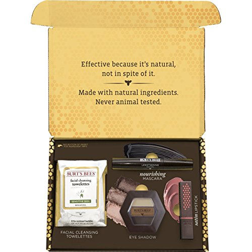 Burt's Bees Natural Beauty Gift Set, 4 Products in Giftable Box - Eye Shadow Palette,  Mascara, Lip Stick and Facial Cleansing Towelettes