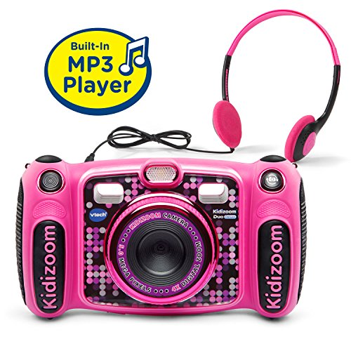 (VTech Kidizoom Duo 5.0 Deluxe Digital Selfie Camera with MP3 Player & Headphones, Pink)