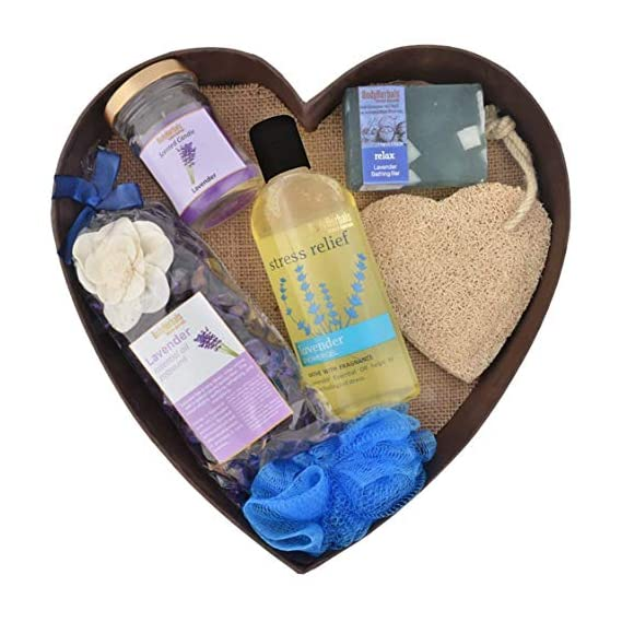 BodyHerbals Lavender Surprise Bathing Set For Ultimate Spa Experience (Lavender Shower Gel 200ml, Lavender Bathing Bar 100gms, Lavender Potpourri, Lavender Scented Candle, Natural Loofah, Bath Puff) Bath & Body, Bath Set & Kits