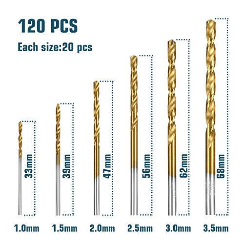 120 PCS Twist Drill Bit Set, HSS Brad-Point Drill Bits by Sibaok, Titanium High Speed Steel Mini Drill Bit, Micro Precision 1/1.5/2/2.5/3/3.5 mm, Perfect for Wood, Plastic, Steel, Aluminum Alloy by Sibaok (Image #1)