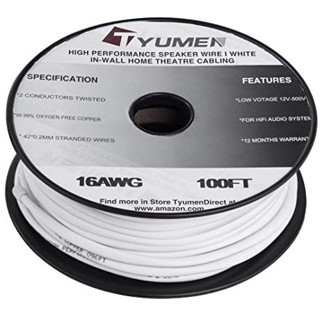 Amazon tyumen 16 awg gauge 2 conductor speaker wire cable 100 tyumen 16 awg gauge 2 conductor speaker wire cable 100 feet white greentooth Choice Image