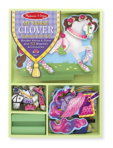 Melissa & Doug My Horse Clover Wooden Doll and Stand With Magnetic Dress-Up Accessories (60 pcs)