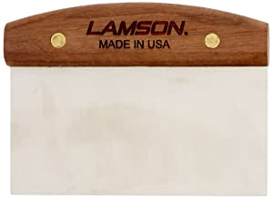 "LamsonDough Scraper, 3"" x 6"" Stainless Steel with Riveted Walnut Handle"