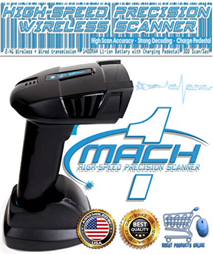 MACH1- Fastest 2.4GHz Wireless Barcode Scanner Reader w/Pedestal Charge LS2208