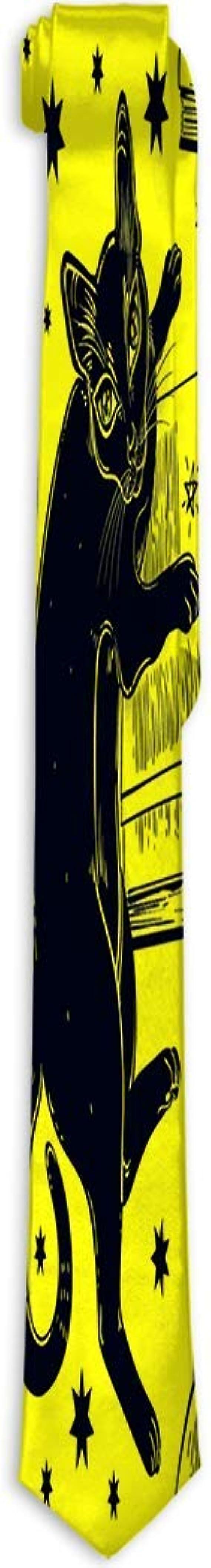 Adamitt Corbata de Seda de poliéster Corbata Gato Negro