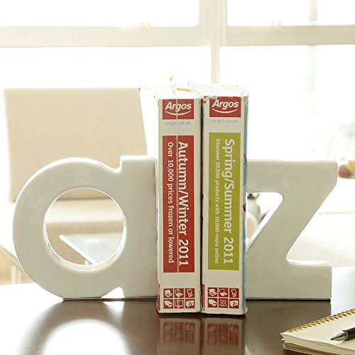 TOMOM 1 Pair Heavy Duty Non-Skid Ceramic Letter Bookends Stainless Steel Art Bookend Gift for Students and Teachers