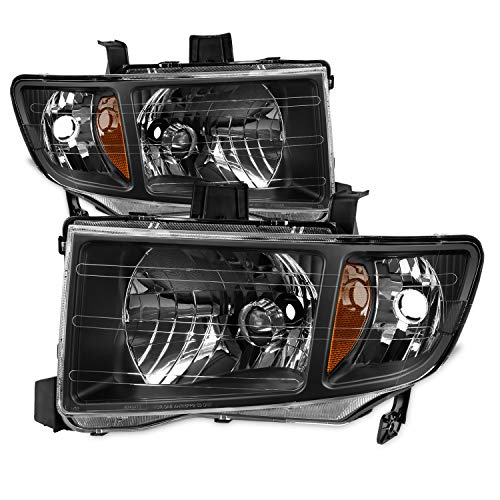 For Honda Ridgeline OE Replacement Black Bezel Headlights Driver/Passenger Head Lamps Pair New
