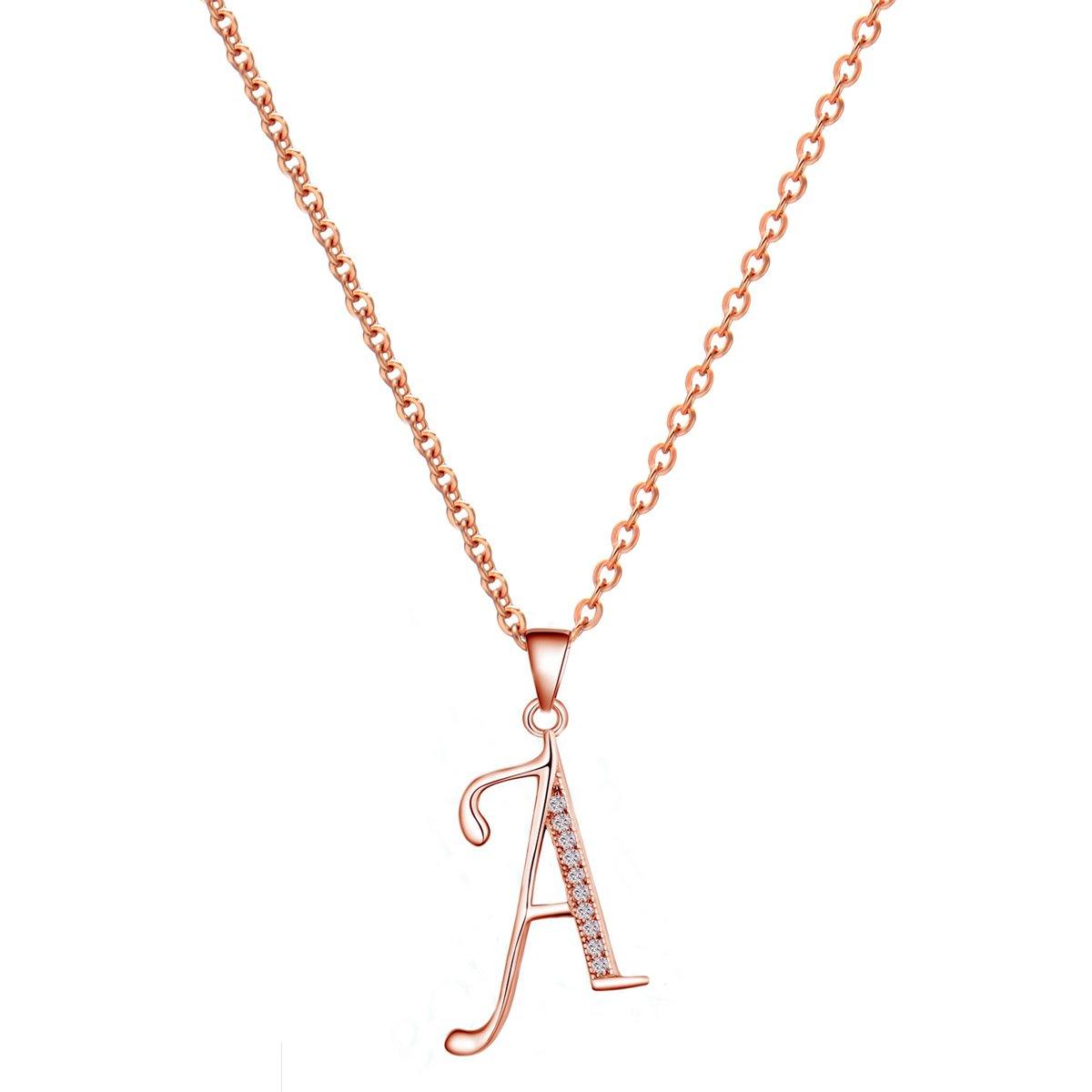 14K Rose Gold Plating Sterling Silver Initial Alphabet Pendant Necklace 18