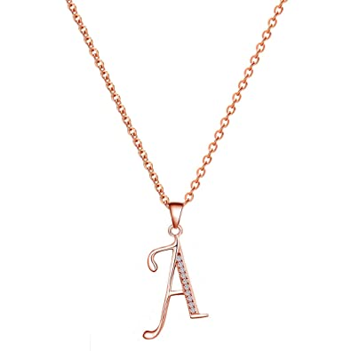 Amazon paialco 14k rose gold plating sterling silver initial paialco 14k rose gold plating sterling silver initial alphabet a pendant necklace 18quot mozeypictures Images