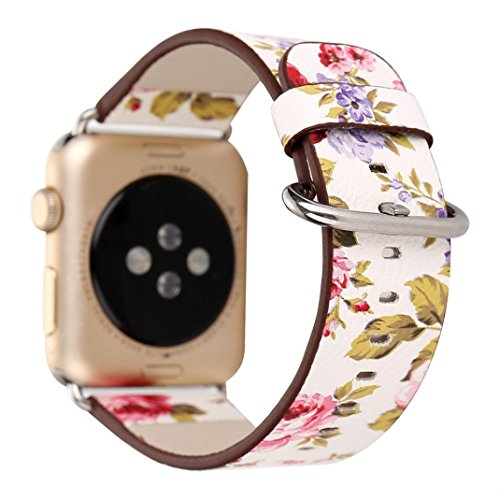 Qpika Leather Band Bracelet Ink painting Watchband For Apple Watch 38MM (red) (Pika Stainless Steel)