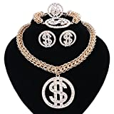 Dollar Sign Pendant Necklace Ring Gold Plated Chain For Women/Men Rhinestone Hip Hop Jewelry Set
