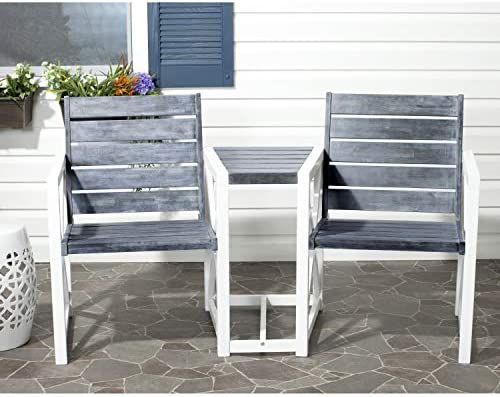 Safavieh Outdoor Collection Jovanna White and Ash Grey Two Seat Bench