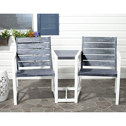 (Safavieh Outdoor Collection Jovanna White and Ash Grey Two Seat Bench, Linen Beige)