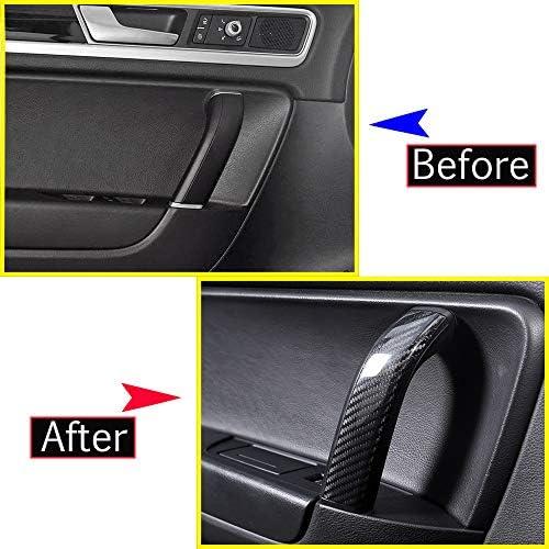 2018/Accessoires 4/X en fibre de carbone de voiture Poign/ée de porte int/érieure Garniture pour Touareg 2011