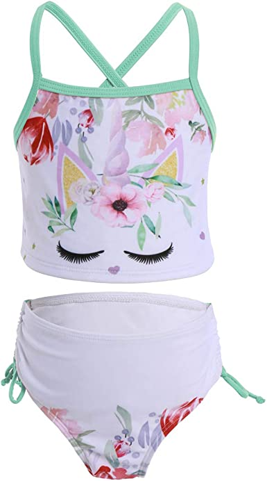 MSemis LIttle Big Gils 2 Pieces Tankini Swimsuit Crisscross Back Polka Dots Swimwear Bikini Set