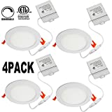 OOOLED 6 Inch Slim Downlight Dimmable 12W (=100W) Led Downlight 850LM 3000K Warm White cETLus listed Recessed Trim Ceiling Light Fixture, led ceiling light,4 Pack (3000K Warmlight)