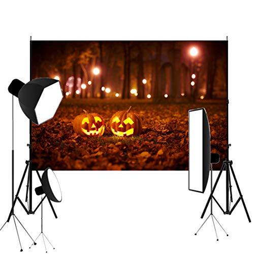 7x5ft Photography Backgroud Happy Halloween Backdrop Pumpkin Lamp Autumn Fallen Leaves Night Road Lights Photo Portrait Studio Prop -