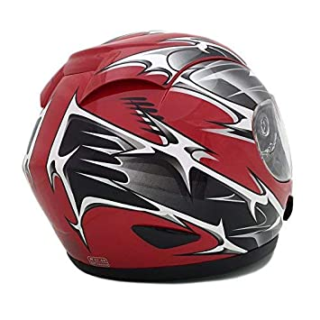 2 Visors Comes with Clear Shield and Free Smoked Shield Spikes RED 118S Large Motorcycle Full Face Helmet DOT Street Legal